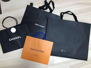 名牌紙袋 95%新 各款 YSL / Chanel / Dior / LV