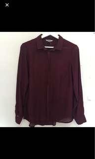 h&m maroon shirt kemeja top blouse bukan zara bershka stradivarius