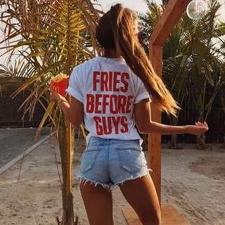 (PO) Fries Before Guys White Printed Tee