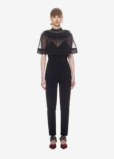 Jumpsuit black lace cape mesh self portrait inspired