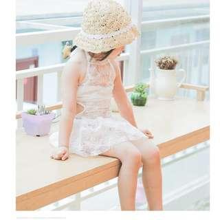 🚚 ▶夏季泳裝 / ▶女童泳衣☑小性感羽毛連體裙襬泳衣