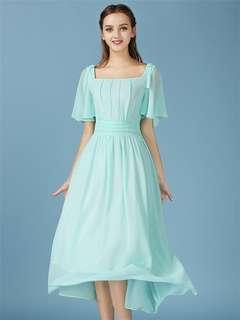 Maxi: Green High Quality Square Collar Large Hem Chiffon Beach Dress (S / M / L / XL) - OA/HYC071570