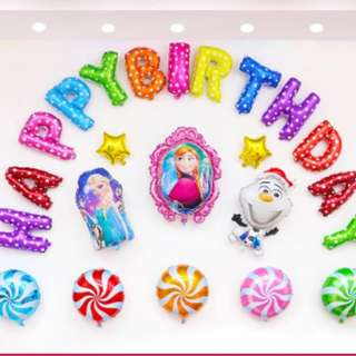 (In Stock)Frozen THeme Party Decoration Set-Happy Birthday
