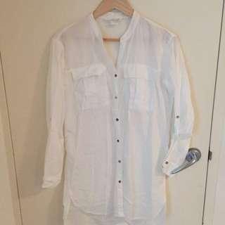 H&M LOGG long white shirt dress