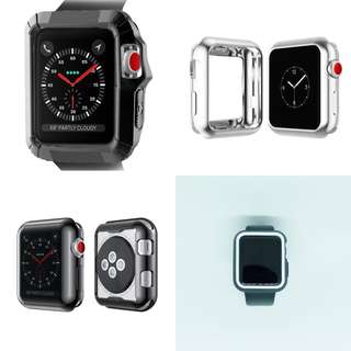 AppleWatch保護殻(超防撞/不銹鋼/黑白色/極纖薄)42MM series 1/2/3
