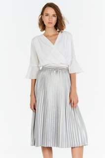 🚚 TCL Aerin Pleated Midi Skirt in Silver