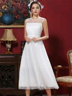 Maxi: White Retro High Waist Gauze Layered Grace Maxi Dress (S / M / L / XL) - OA/KZC071313