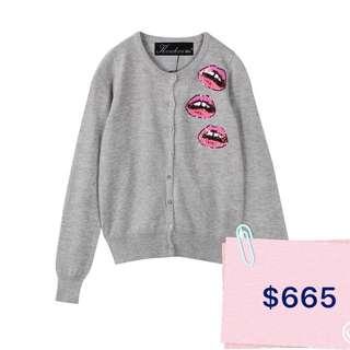 Minimei追加款✪韓系韓版歐美風百搭休閒針織小開衫紅唇亮片長袖毛衣外套修身短款外套