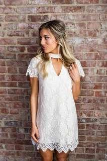 Chocker Neck Lace Mesh Shift Dress (KR099669)