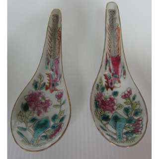 2 Straits Chinese, Peranakan Nonya, White Base Porcelain Spoon With Phoenix & Peony Flower.