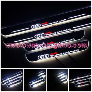 White Colour Audi A4 B6 B7 B8 B8.5 B9 Sweeping Glowing Animated Moving Illuminated LED Door Sill Scuff Protector Plates in De-chromed Mirror Finish