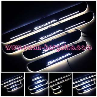 White Colour Honda Stream Sweeping Glowing Animated Moving Illuminated LED Door Sill Scuff Protector Plates in De-chromed Mirror Finish