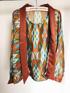 {BAJU LEBARAN} Semi Kimono Top Atasan Wanita bahan Satin Premium