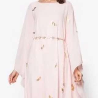 Zalora Zalia foil feather print kaftan