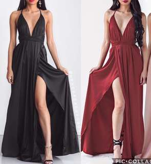 Red Maxi Formal Dress (Satin)