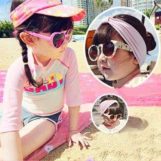 🚚 ▶夏季泳裝 / ▶女童泳衣☑韓版插肩袖可愛平口防曬兩件式泳衣