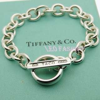🚚 【LEO FASHION】二手正美品  Tiffany&Co. 經典1837系列T扣戒指圈粗手鍊