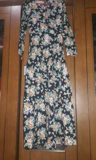 Dress bunga bahan cotton streach