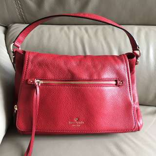 99.9%new Kate Spade Red Leather Shoulder Bag 100%real