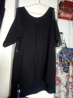 Black chiffon top with cut outs and uneven hem