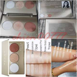 sephora Holiday 限量Jaclyn Hill.聯名盤becca三色打亮腮紅盤 盒子,✔️Pearl (pale linen white) ✔️Champagne Pop (soft white gold with pinky peach undertones) ✔️Blushed Copper (warm copper infused with rose gold tones)