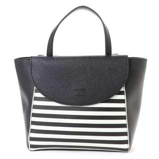 Japan Samantha Thavasa Colors By Jennifer Sky Border Handbag Bag (Black)