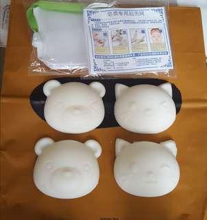 自家製可愛貓.熊家事皂全4件送起泡袋2個,包平郵