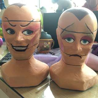 Vintage toy horror puppet master jester heads sculpted using fibreglass virtually unbreakable