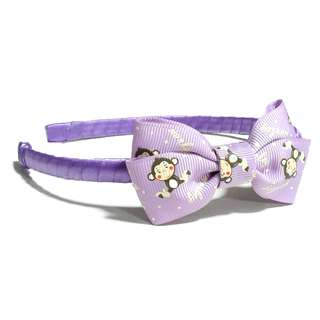 Handmade Korean Style Cartoon Printed Purple Hair Bow Headband