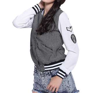 CASUAL STAND COLLAR LOGO PATCH DESIGN LONG SLEEVES COAT FOR WOMEN (GRAY) One Size