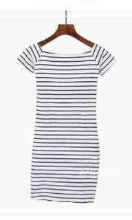 Bodycon Striped Off-shoulder Dress