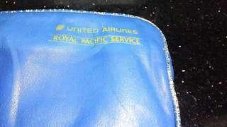 (八十年代)聯合航空皇家太平洋747(個人護理套裝皮包)懷舊