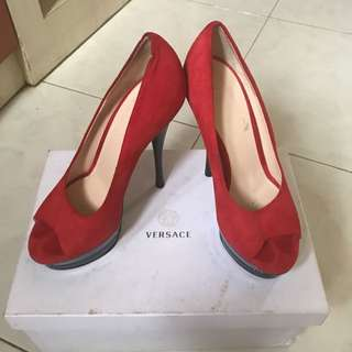 Preloved Authentic Versace Red Heels Size 38