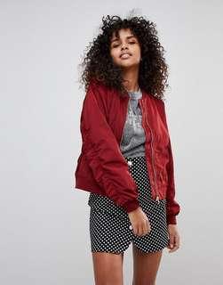 Monki red bomba jacket