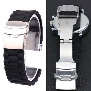 Silicone Watch Strap Band 22mm Stainless Steel Butterfly Buckle Push Button Fold Deployment Clasp