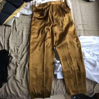 古著緞面 金古銅色褲子