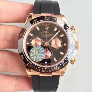 Rolex Daytona Cosmograph 18K Rose Gold Black Dial ( Swiss 7750 Engine )