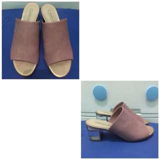 Charles & keith mules pink heel