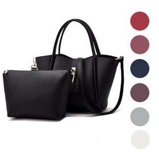 Le Voue 105 Set of 2in1 Elegant Premium Handbag Shoulder Sling Bag and Pouch