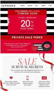 🎉FREE Sephora 20% discount early access for gold card members