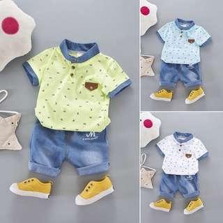 Boys 2pcs shirt + denim shorts pant