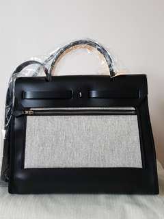 NEW HERMES HERBAG 31CM PM SO BLACK WITH BERLINE TOILE POCKET