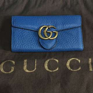 GUCCI GG Marmont Royal Blue Wallet
