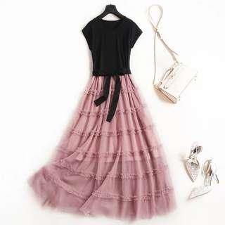 🚚 氣質網紗長裙