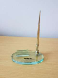 Glass Pen & Name Card Stand