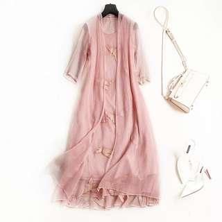 🚚 兩件套刺繡長裙