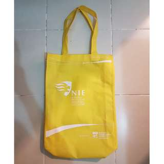 Yellow National Institute of Education (NIE) Polyester Tote Bag