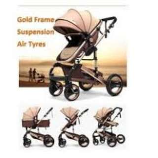 Belecoo 2017 Gold Suspension Frame German Design Stroller All Air Tyres (Khaki Brown)