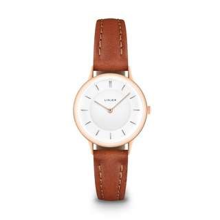LINJER The Petite Watch in Rose Gold/Tan [Sapphire crystal and Italian vegetable-tanned leather straps]