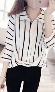 Woman Blouse Striped Cotton Linen